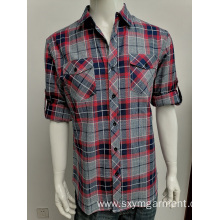 Mens cotton yd check long sleeve shirt